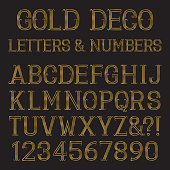 Golden font in art deco style. Vintage alphabet. Gold capital letters and numbers of lines with flourishes.