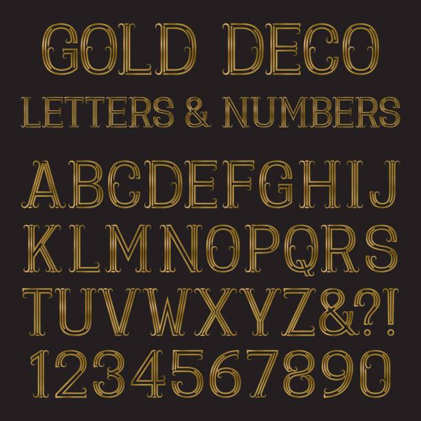 stockillustraties, clipart, cartoons en iconen met gold capital letters and numbers of lines with flourishes. - borden en symbolen