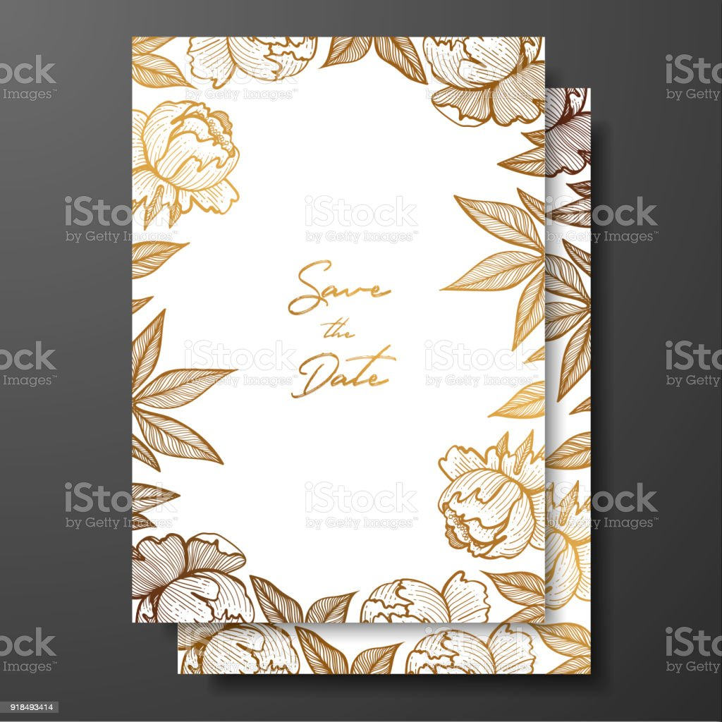 Gold Card Template For Invitations Greeting Cards Postcards Package