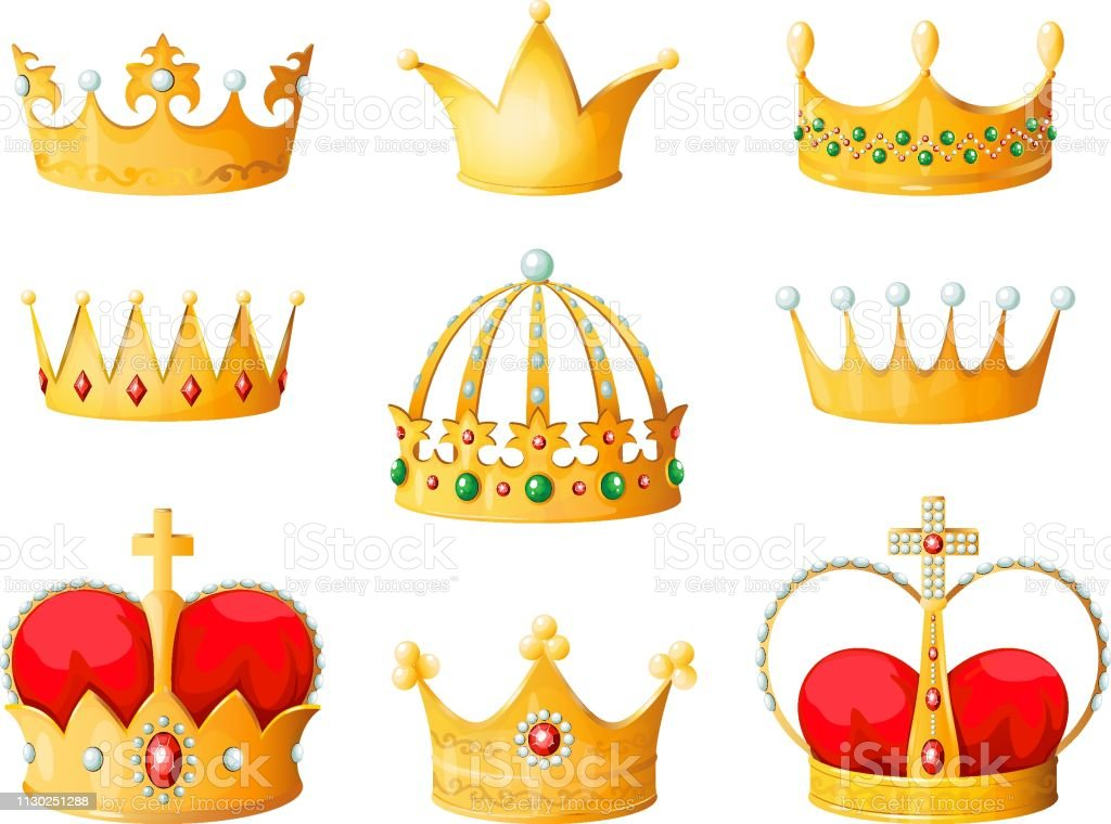 Gold Cartoon Crown Golden Yellow Emperor Prince Queen Crowns Diamond Coronation Tiara Crowning Emojis Corona Isolated Vector Stock Illustration Download Image Now Istock