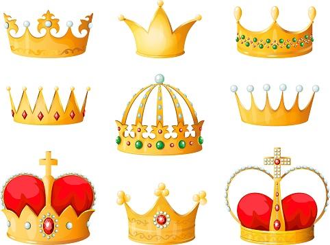Gold cartoon crown. Golden yellow emperor prince queen crowns diamond coronation tiara crowning emojis corona isolated vector