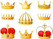 Gold cartoon crown. Golden yellow emperor prince queen crowns diamond coronation tiara crowning emojis corona isolated vector set