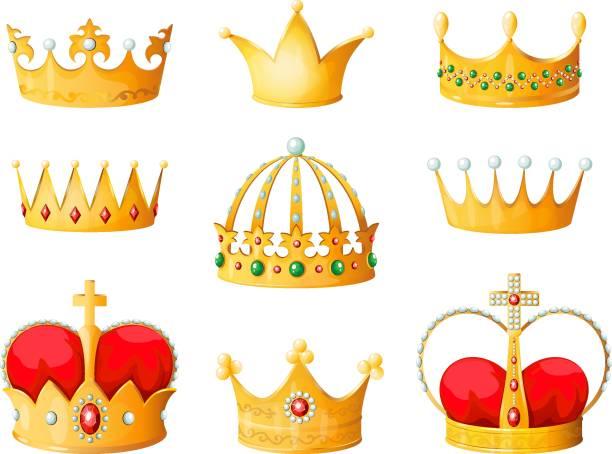 illustrations, cliparts, dessins animés et icônes de couronne or de dessin animé. l'empereur jaune doré prince reine couronnes diamant tiare couronnement couronnement emojis vecteur isolés de corona - couronne reine