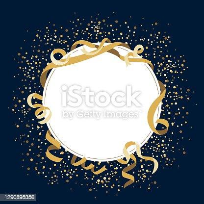 istock Gold celebration blank round frame 1290895356
