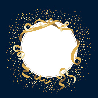 Round white frame embraced with gold ribbons and glowing glitter on deep blue background.
