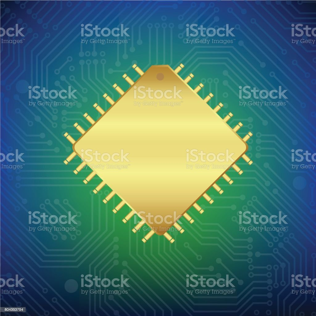 Gold Central Processing Unit With Circuit Board Stock Vector Art In Boards Royalty Free