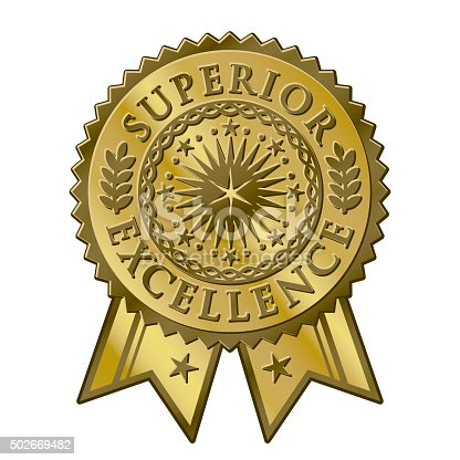 istock Gold certificate award seal, superior excellent achievement 502669482