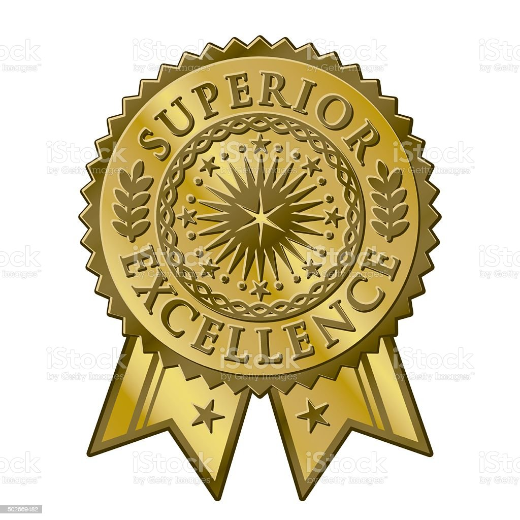 Gold certificate award seal, superior excellent achievement vector art illustration