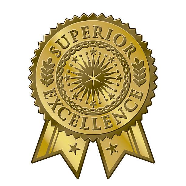 Gold certificate award seal, superior excellent achievement vector art illustration