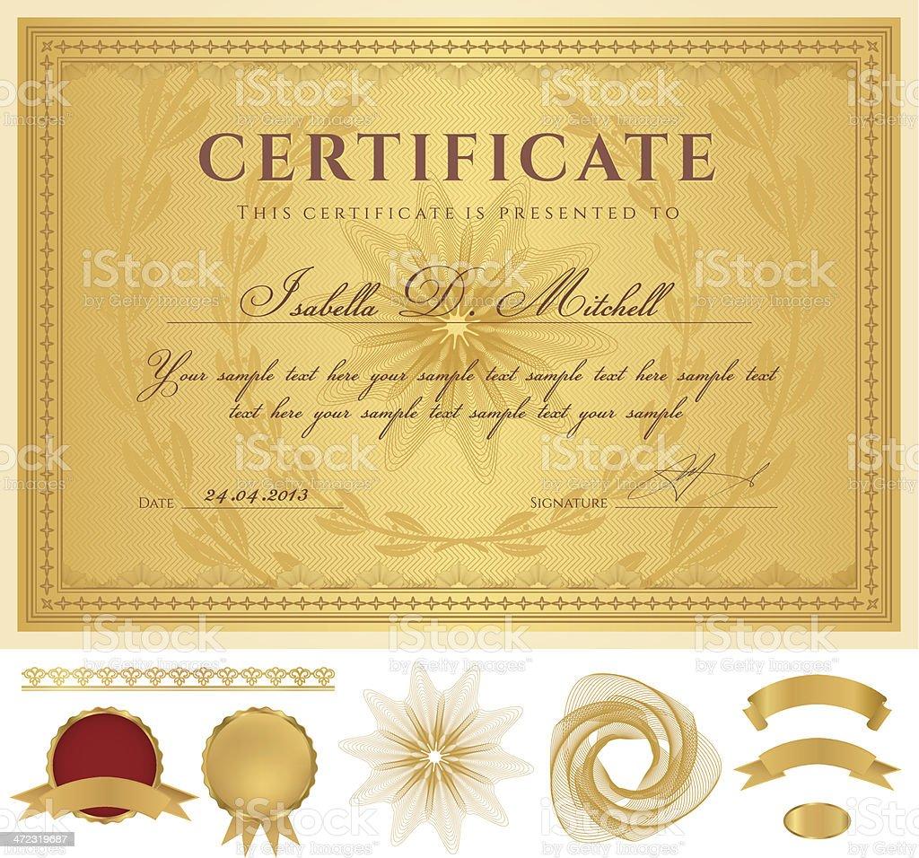 Golddiplomcoupon Zertifikat Award Hintergrund Grenzen Guilloche ...