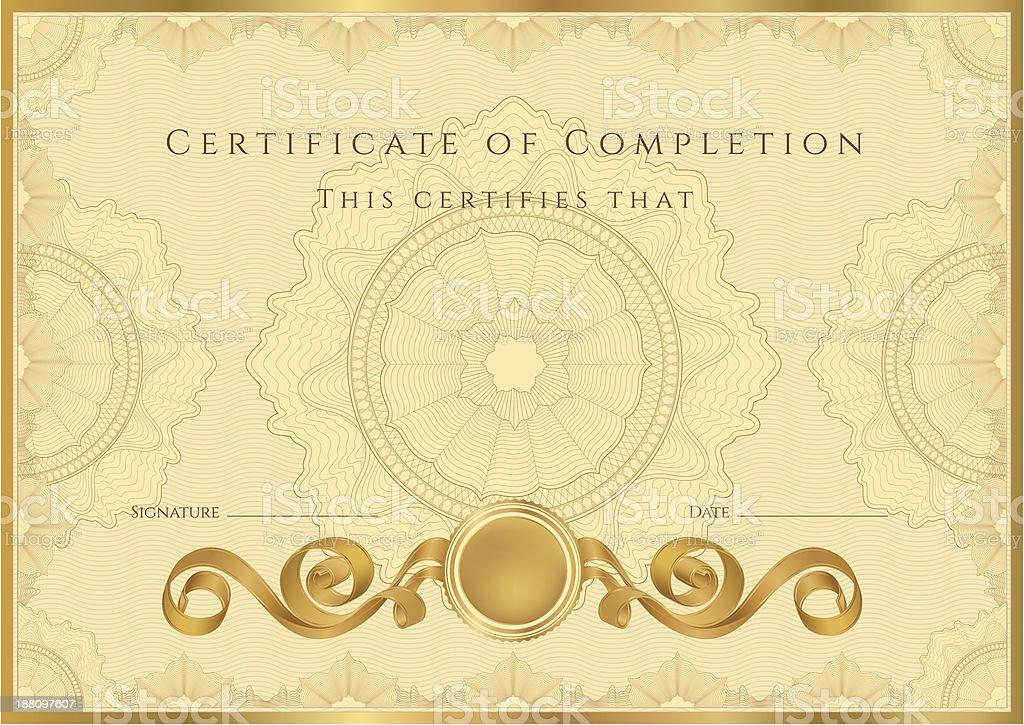 Golddiplomcoupon Zertifikat Stock Vektor Art und mehr Bilder von ...