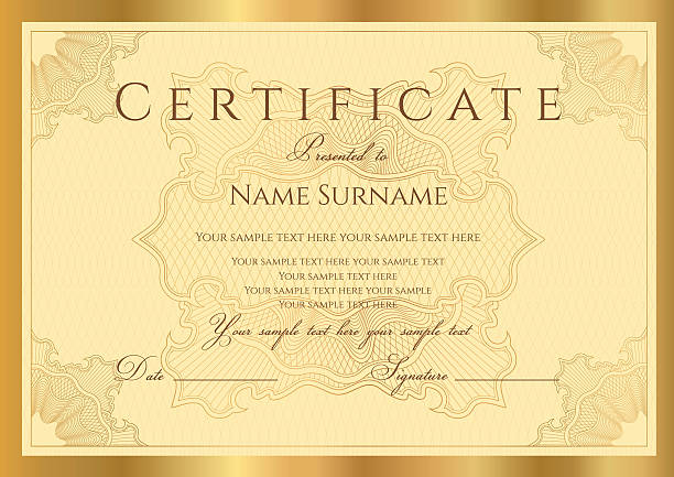 ilustraciones, imágenes clip art, dibujos animados e iconos de stock de oro certificado o diploma/cupón (plantilla). fondo guilloche premio (patrón de cuadros) - marcos de certificados y premios