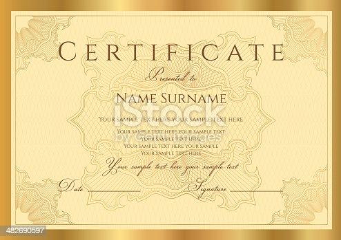gold certificate diploma coupon stock vector art more