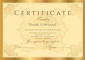 Gold Certificate / Diploma / Coupon (template). Award background (guilloche pattern, frame)