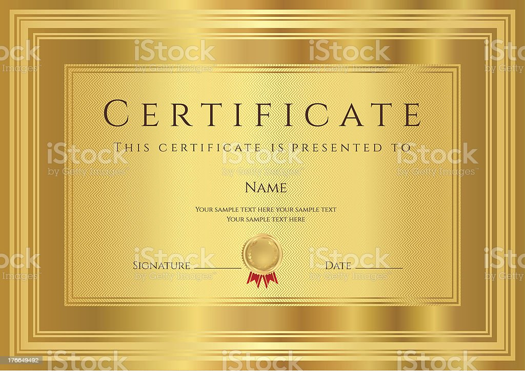 Gold certificate diploma template background design with pattern gold certificate diploma template background design with pattern border frame royalty yadclub Gallery