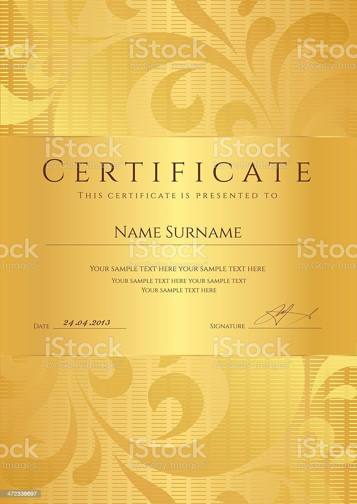 Gold Certificate Diploma Template Background Design With Swirl