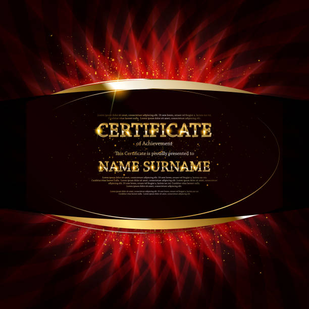 Gold Certificate of Achievement Certificate, Diploma of completion black design template, dark background with floral, filigree pattern, scroll border, frame. Gold Certificate of Achievement, coupon, award, winner certificate. debenture stock illustrations