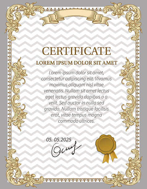Gold Certificate of Achievement Gold Certificate of Achievement coupon award. Vintage Frame. debenture stock illustrations
