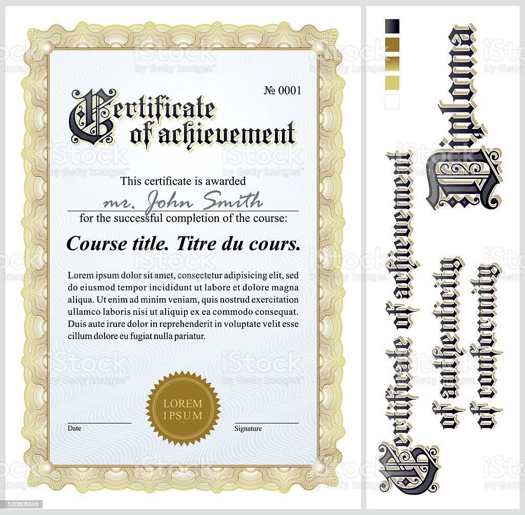 Gold certificate. Template. Vertical. vector art illustration