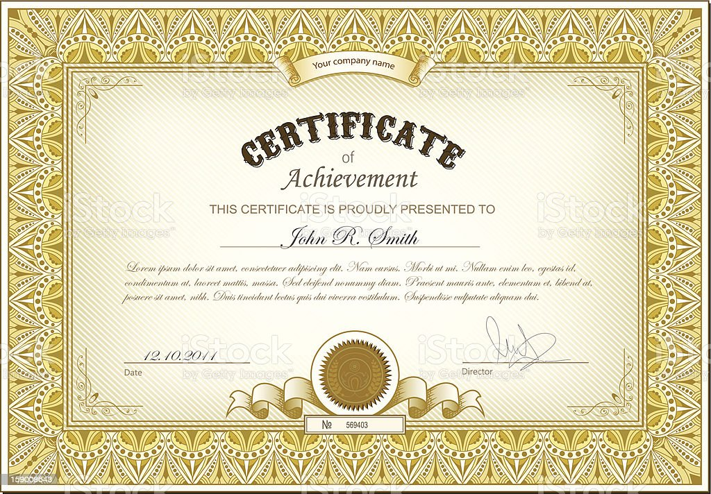 Gold Certificate Stock Vector Art More Images Of Achievement
