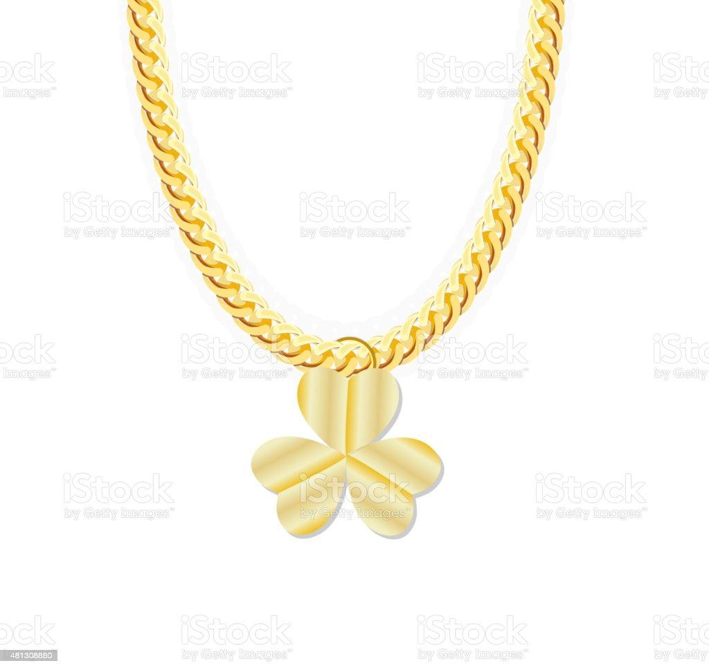 294136b4737b Cadena de oro whith tres hojas de trébol de joyas. Ilustración vectorial  ilustración de cadena
