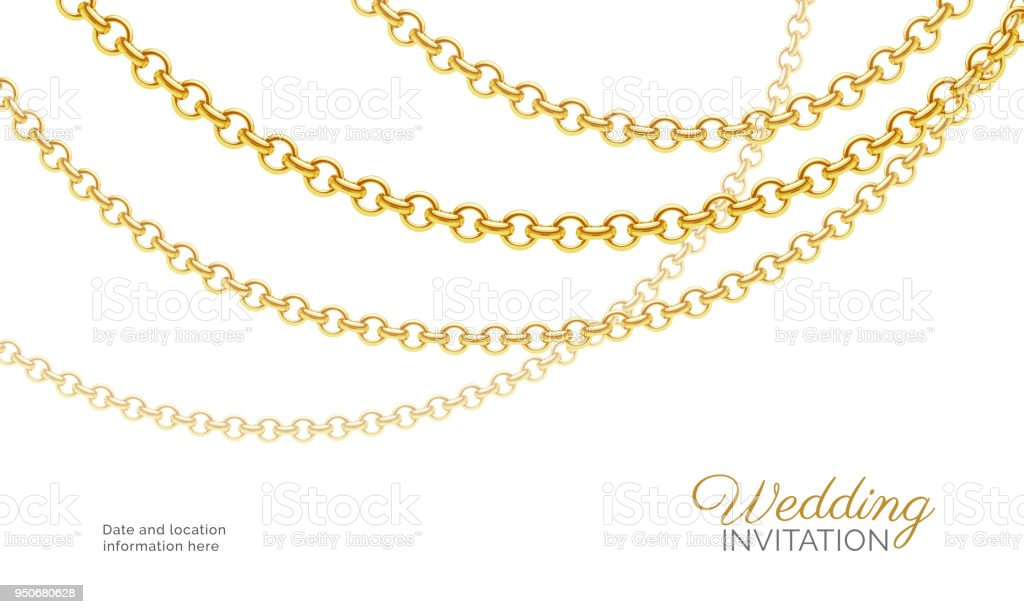 Gold chain necklace luxury jewelry background wedding invitation luxury jewelry background wedding invitation vector design royalty free gold stopboris Choice Image