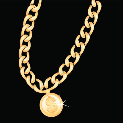 A dollar symbol on a gold chain.