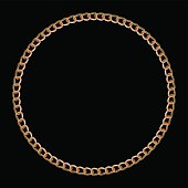 Gold chain in the shape of a circle. Gradient mesh