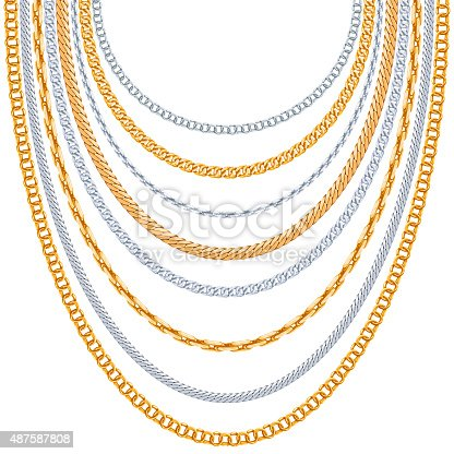 Gold chains vector background. Silver hanging, link metallic shiny illustration
