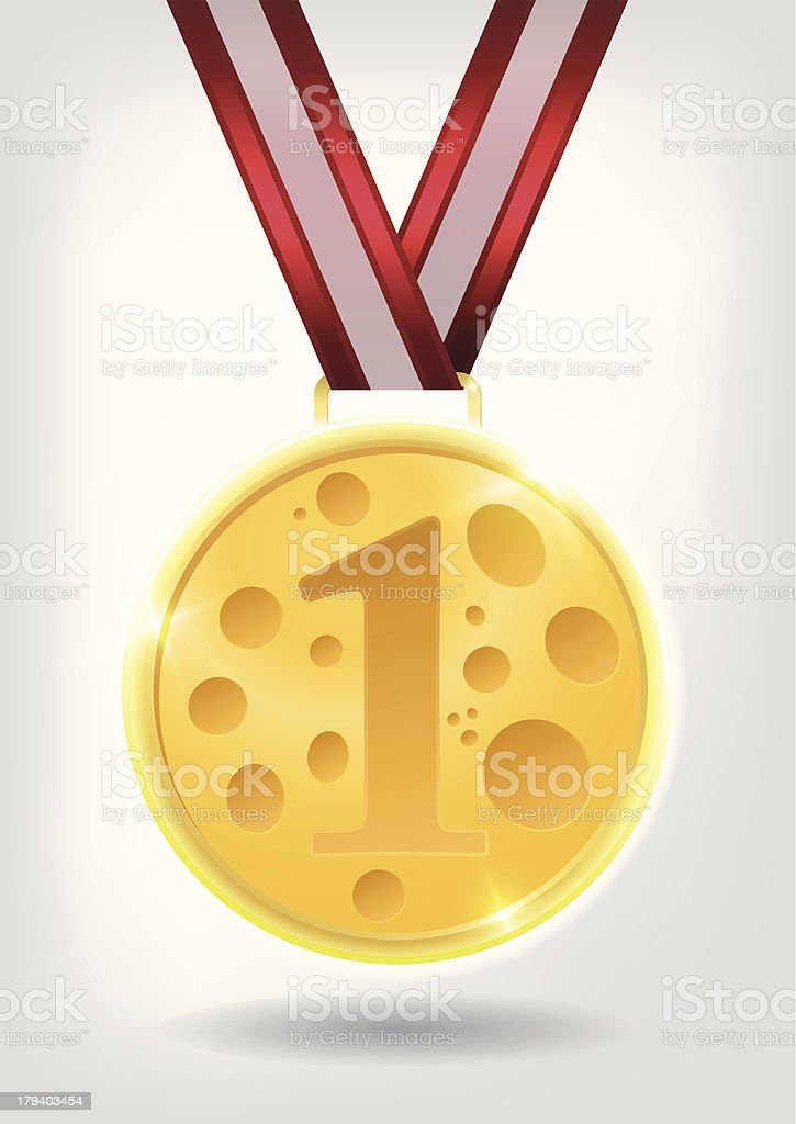 Gold Cheese Medal royalty-free stock vector art