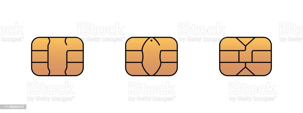 EMV Gold chip ikon för bank plast kredit-eller debetkort. Illustration av vektor symbol - Royaltyfri App vektorgrafik