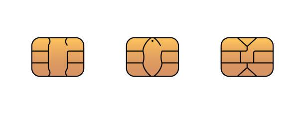 EMV gold chip icon for bank plastic credit or debit charge card. Vector symbol illustration EMV gold chip icon for bank plastic credit or debit charge card. Vector symbol illustration set computer chip stock illustrations