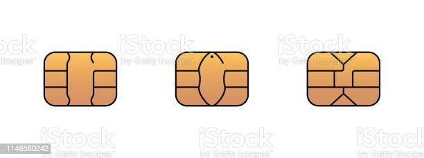 Emv Gold Chip Ikon För Bank Plast Krediteller Debetkort Illustration Av Vektor Symbol-vektorgrafik och fler bilder på App