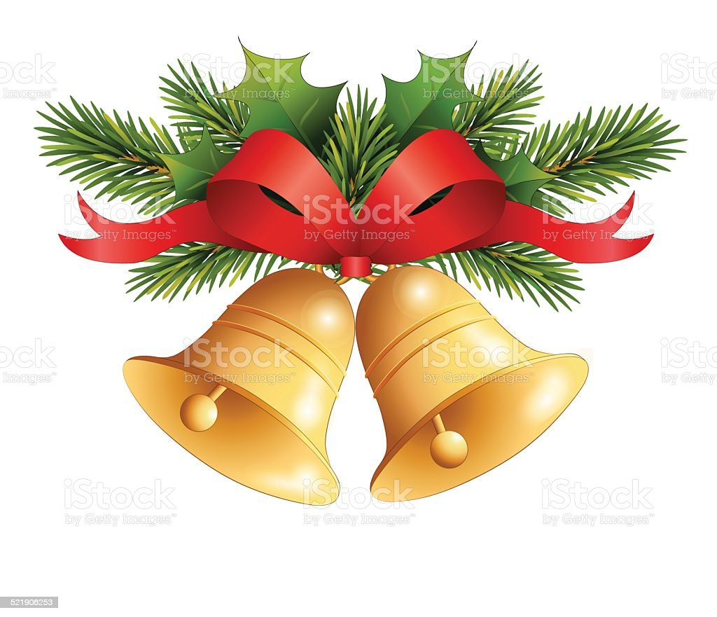 Gold Christmas bell with red ribbon on fir decor vector art illustration