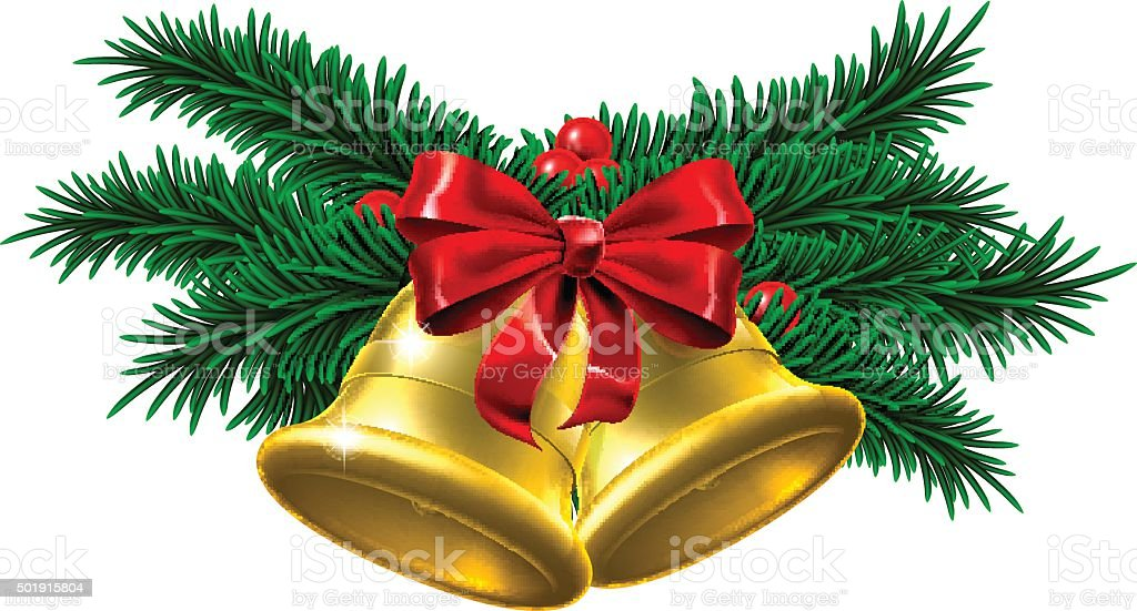 Gold Christmas Bells Decoration vector art illustration