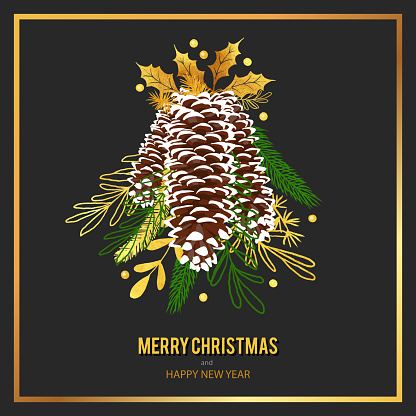 Gold Christmas card design template with pinecones, winter plants, fir, spruce, pine branches and berries.