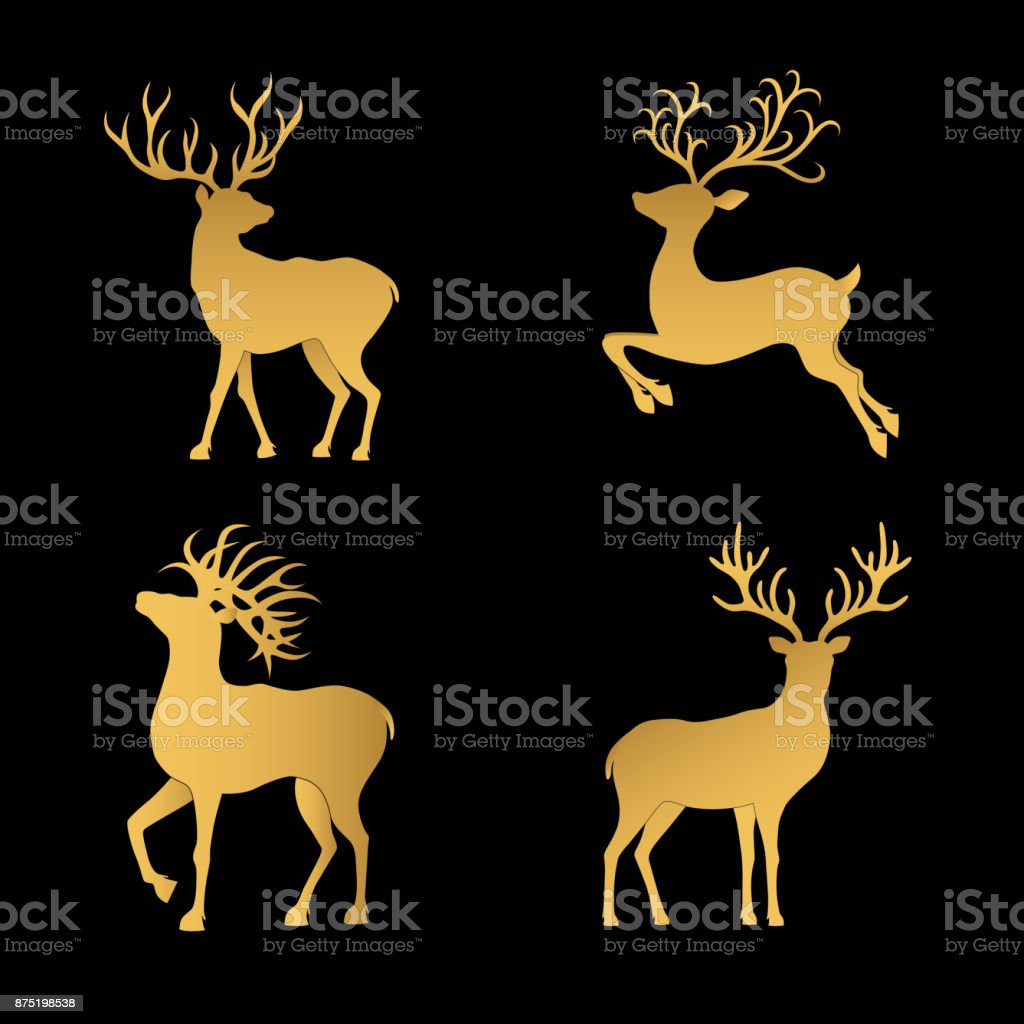 Gold  Christmas  deer silhouettes  isolated on the black  background. vector art illustration