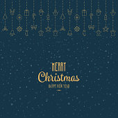 gold christmas elements hanging blue snow background