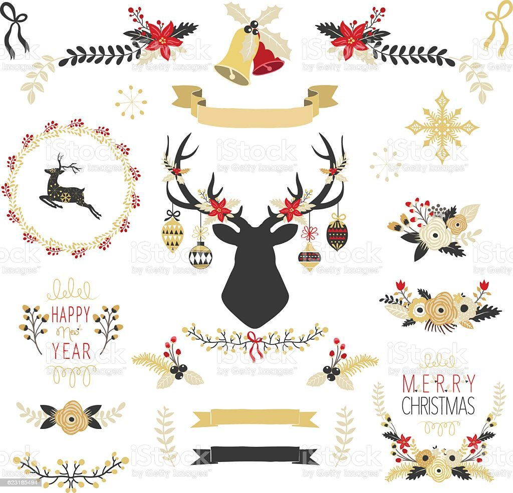 Gold Christmas Elements- Illustration vector art illustration