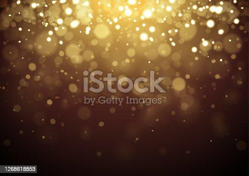 istock Gold Christmas glitter design background 1268618853