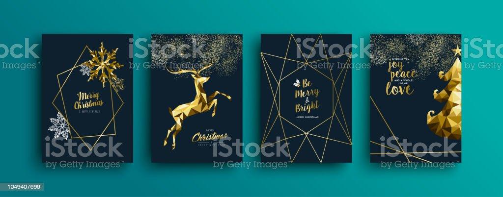 Weihnachten Rentier Grußkarte Goldkollektion – Vektorgrafik