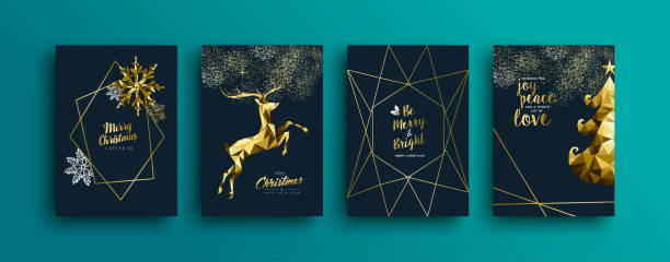 ilustrações de stock, clip art, desenhos animados e ícones de gold christmas reindeer greeting card collection - christmas card