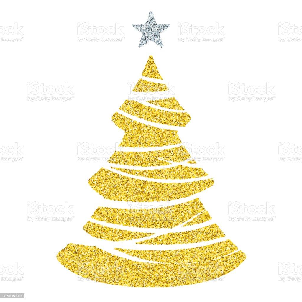 Gold Weihnachtsbaum Symbol Glitter Vektor Christbaumschmuck Auf