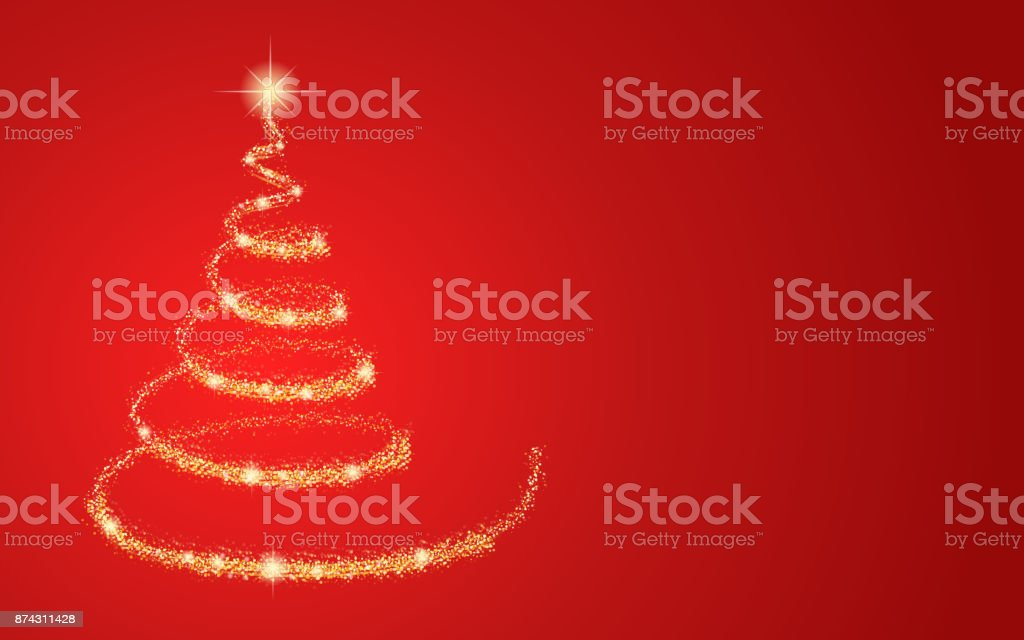 Gold Christmas tree on red background. Vector.