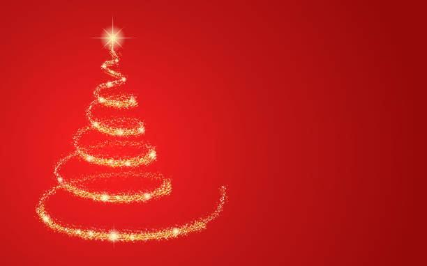 bildbanksillustrationer, clip art samt tecknat material och ikoner med guld julgran på röd bakgrund. vektor. - christmas tree