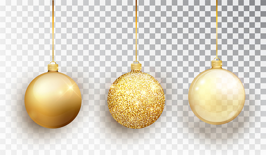 Gold Christmas tree toy set isolated on a transparent background. Stocking Christmas decorations. Vector object for christmas design, mockup. Vector realistic object Illustration 10 EPS.