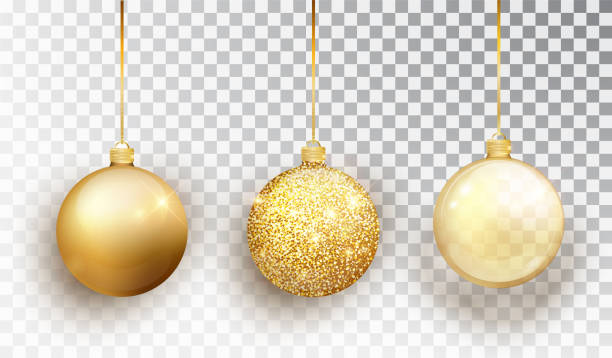 gold christmas tree toy set isolated on a transparent background. stocking christmas decorations. vector object for christmas design, mockup. vector realistic object illustration 10 eps. - gold stock illustrations