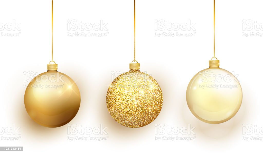 gold christmas tree toy set isolated on white background stocking christmas decorations vector object - Gold Christmas Decorations