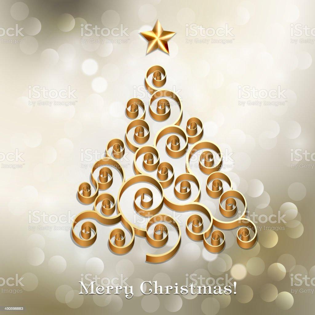 Gold Christmas tree royalty-free stock vector art