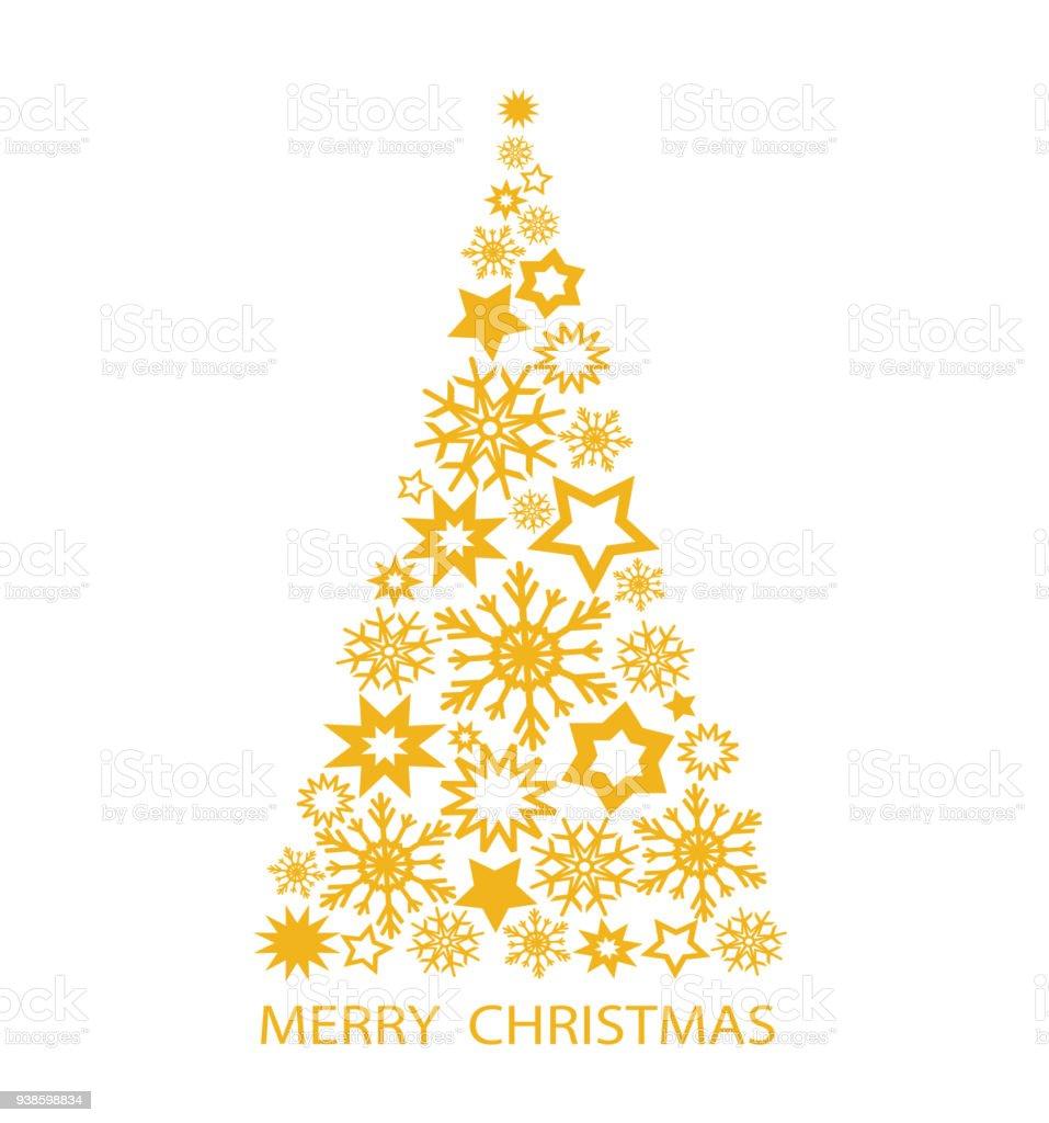 Gold Weihnachtsbaum Mit Sternen Und Schneeflocken Fur Ihre